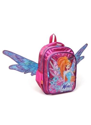 Winx Winx Bloom Kanatlı Okul Çantası (Kız Çocuk) - Simli Yüzey, Açılabilir Kanatlar Pembe